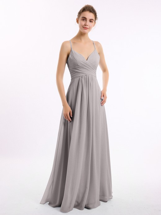 Babaroni Tammy V-neck Long Chiffon Gown with Spaghetti Straps