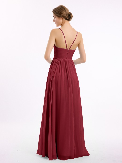 Babaroni Teagan Spaghetti Strap Long Chiffon Bridesmaid Gowns