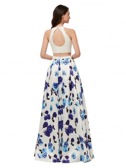 Babaroni Teresa Floral Skirt Beaded Bodice 2 Piece Dresses