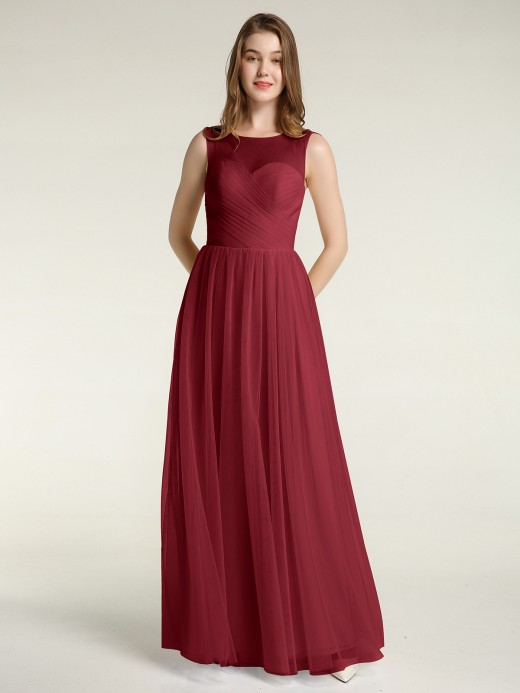 Babaroni Tess Long Tulle Bridesmaid Dress with Illusion Neck
