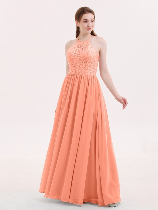Babaroni Theresa Chiffon and Lace Hlater Long Gowns