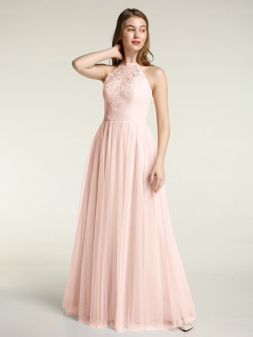 Babaroni Tina Lace Top and Tulle Skirt Full Length Dress