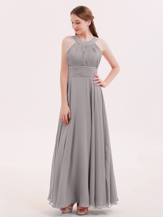 Babaroni Tobey Chiffon Pleated Top Long Dresses with Open Back