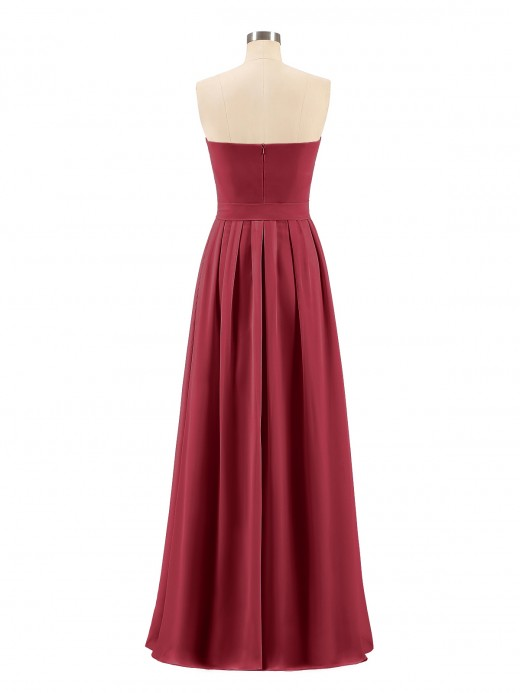Babaroni Valentina Straplesses Chiffon Maxi Dresses with Bow