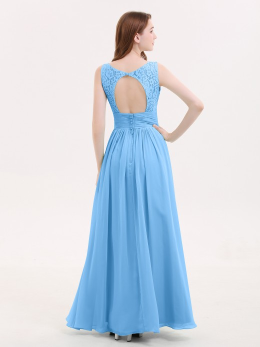 Babaroni Valerie V-neck Lace and Chiffon Dresses with Open Back