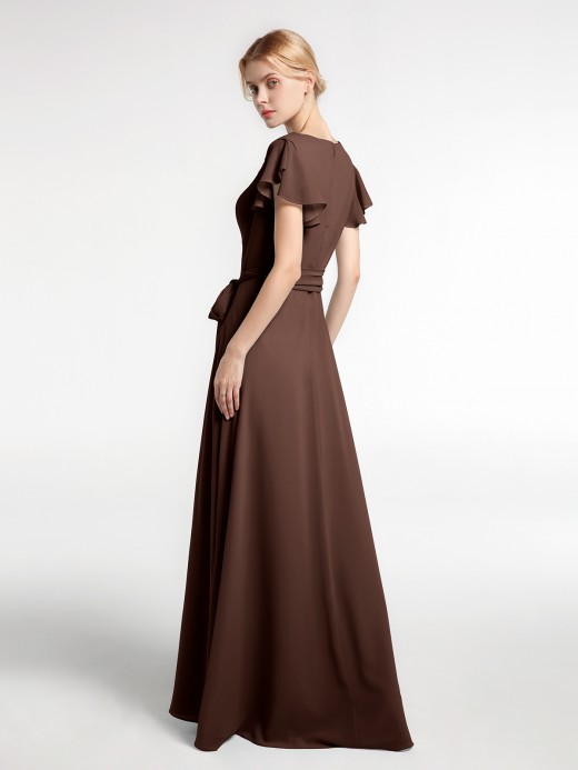 Babaroni Vanessa V-neck Cap Sleeves Chiffon Gown with Self-Bow