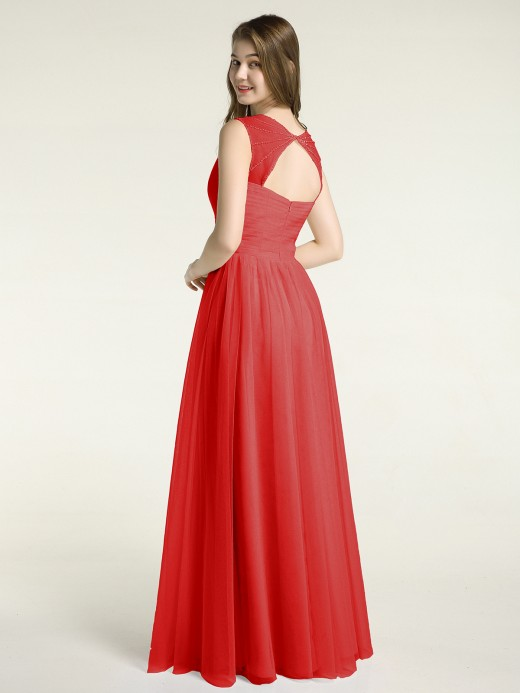 Babaroni Vera Long Tulle Dress with Beaded Straps