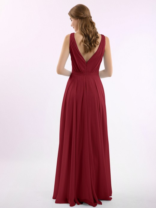 Babaroni Vicky Long V Neck Chiffon Bridesmaid Dress