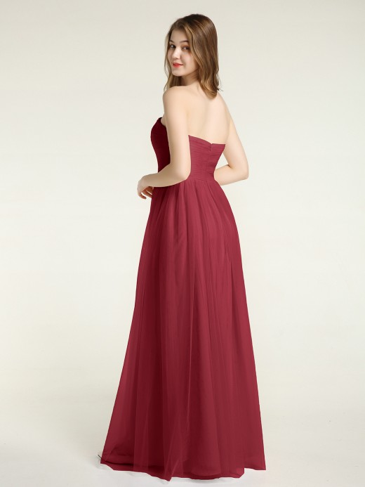 Babaroni Viola Strapless Long Tulle Bridesmaid Dress with Sweetheart