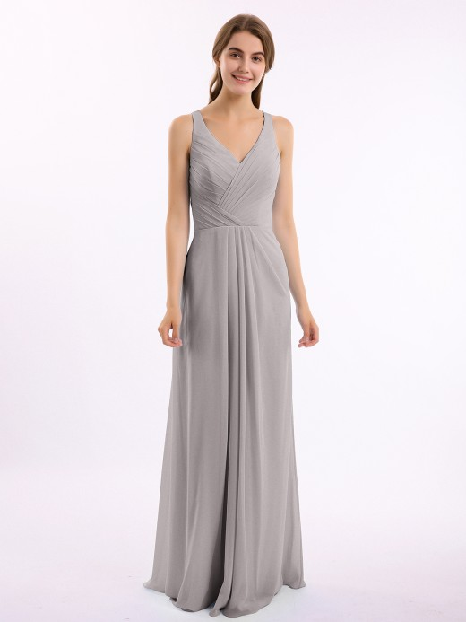 Babaroni Vita Long Chiffon Dress with V Neck X Cross Open Back