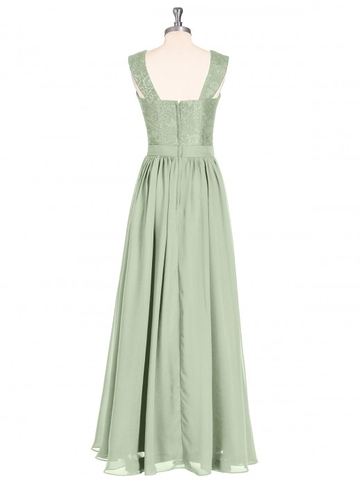 Vivien Long Dress with Lace Bodice and Straps UK14