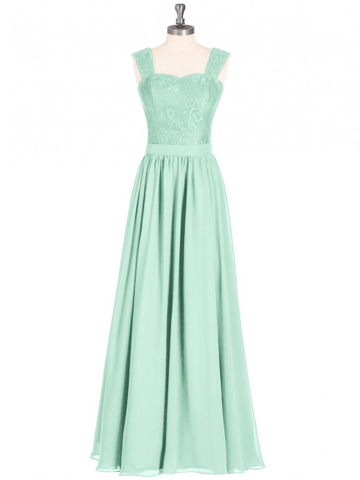 Babaroni Vivien Long Dress with Lace Bodice and Straps