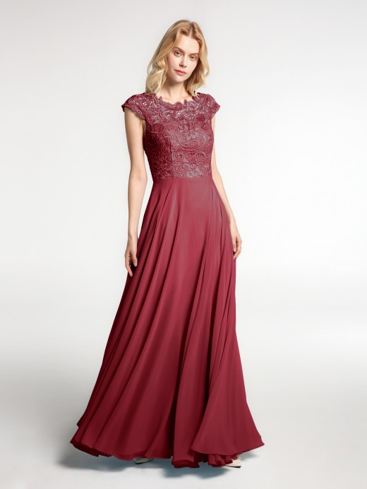 Babaroni Wallis Illusion Warp Neck Lace and Chiffon Long Dress