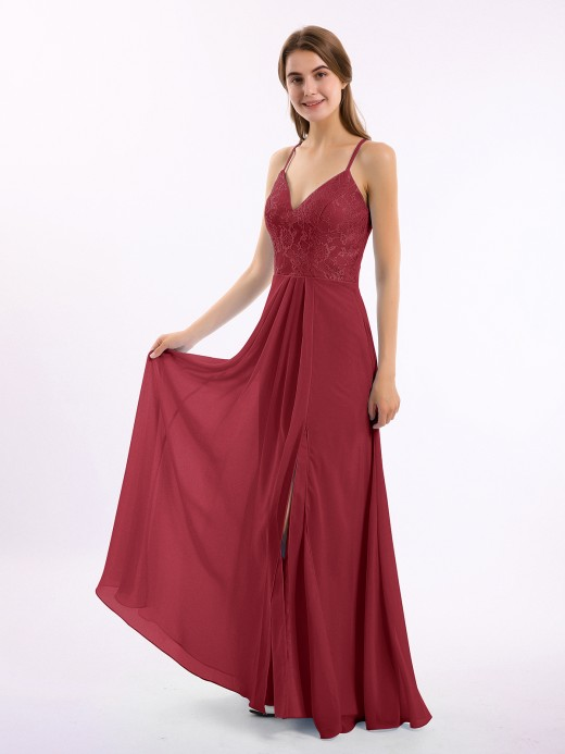 Babaroni Wanda Chiffon Bottom Lace Top Bridesmaid Dress with Slit