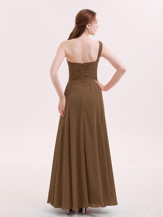 Babaroni Yedda One Shoulder Chiffon Gown with Pleated Top