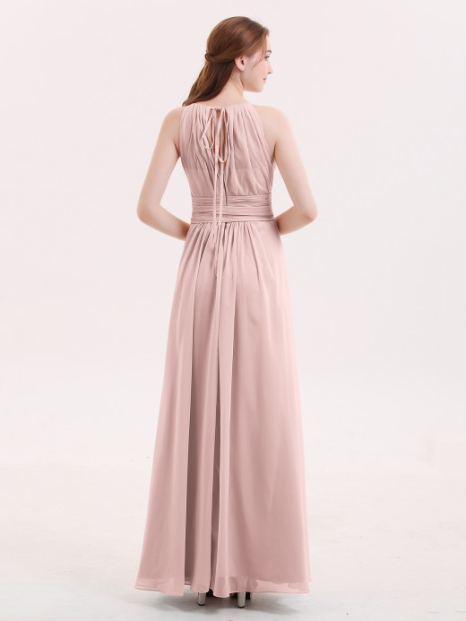 Babaroni Zenobia Chiffon Long Bridesmaid Gowns with Bow Sash