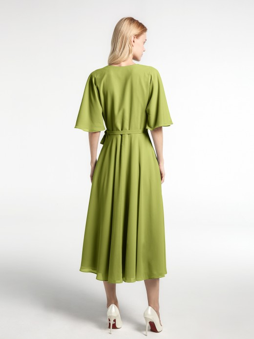 Babaroni Zona V-neck Half Sleeves T-Length Chiffon Dress
