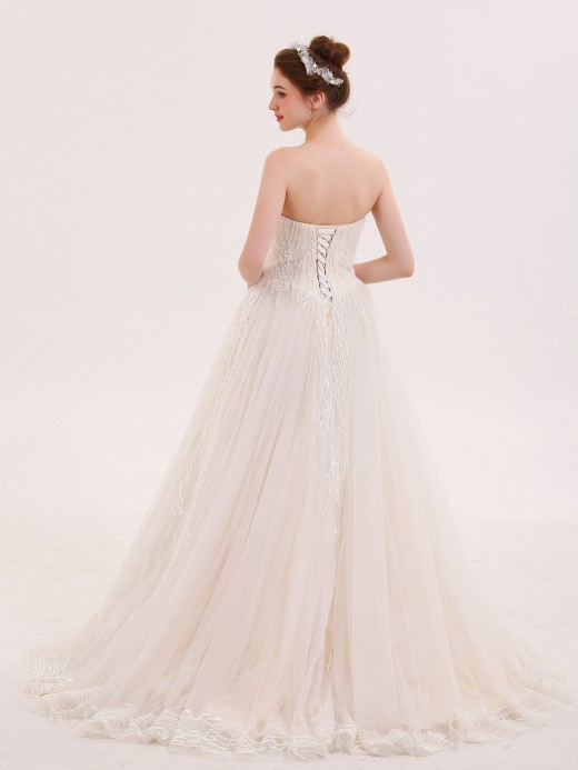 Babaroni Zora Starpaless Lace and Tulle Wedding Dresses