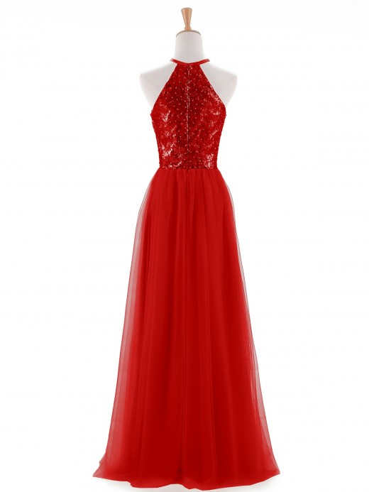 Babaroni Aida Halter Sequins Lace And Tulle Dresses