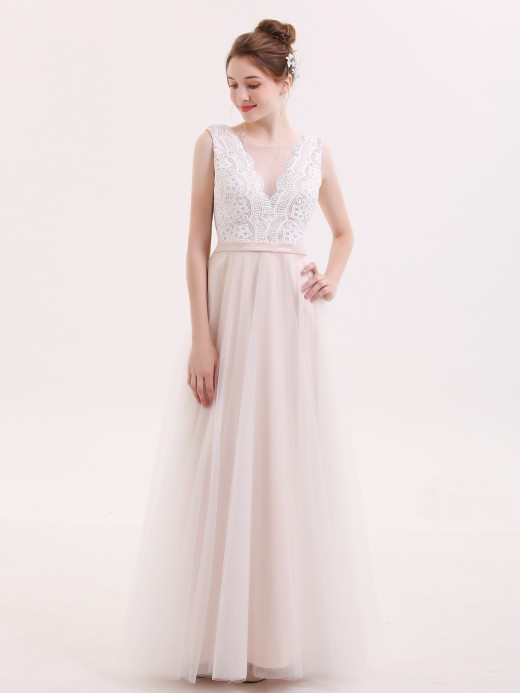 Babaroni Ainsley Lace Top Tulle Skirt Simple Wedding Gowns