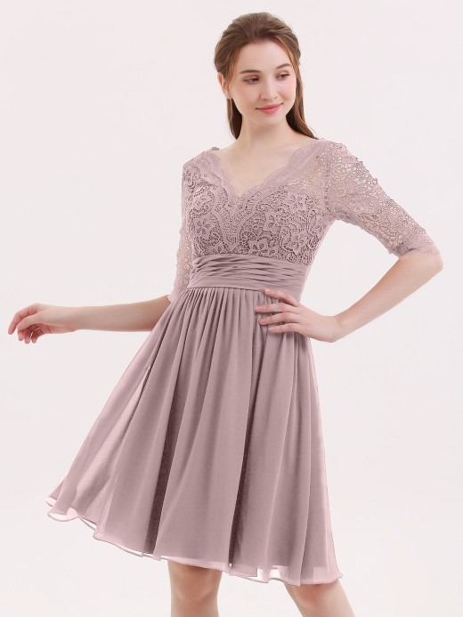 Alexia Half Sleeves Lace And Chiffon Short Gowns UK10
