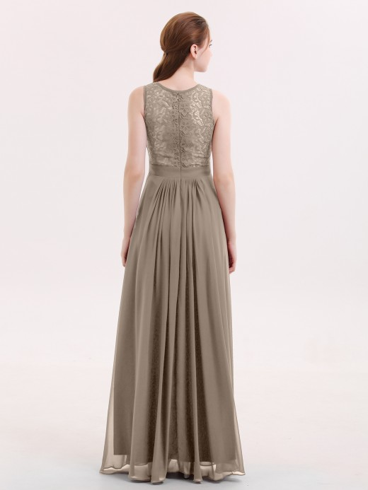 Babaroni Alice Illusion Neck Lace and Chiffon Long Gowns