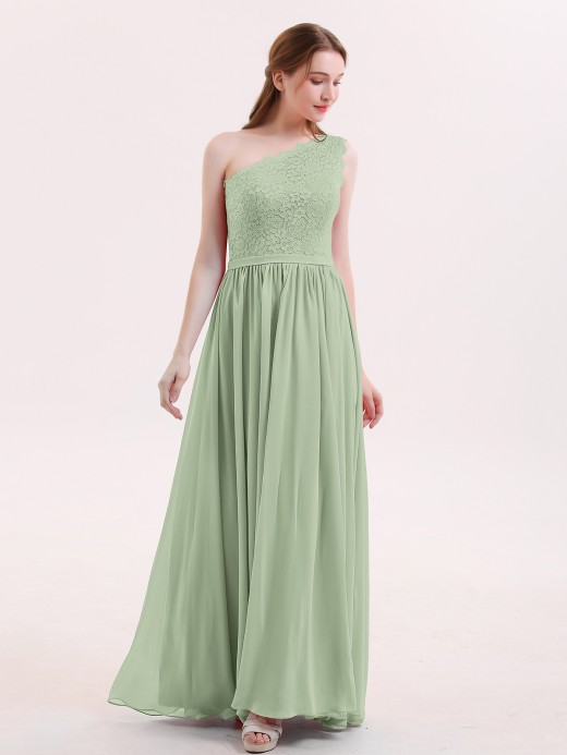 Audrey One Shoulder Dresses with Lace Bodice