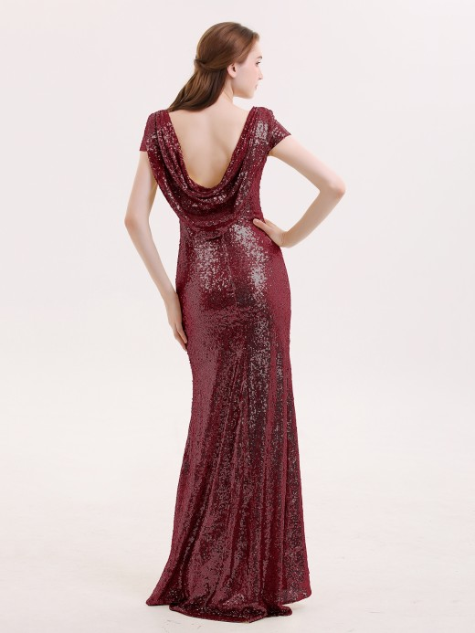 Babaroni Betty Cap Sleeves Sequins LACE Mermaid Dress