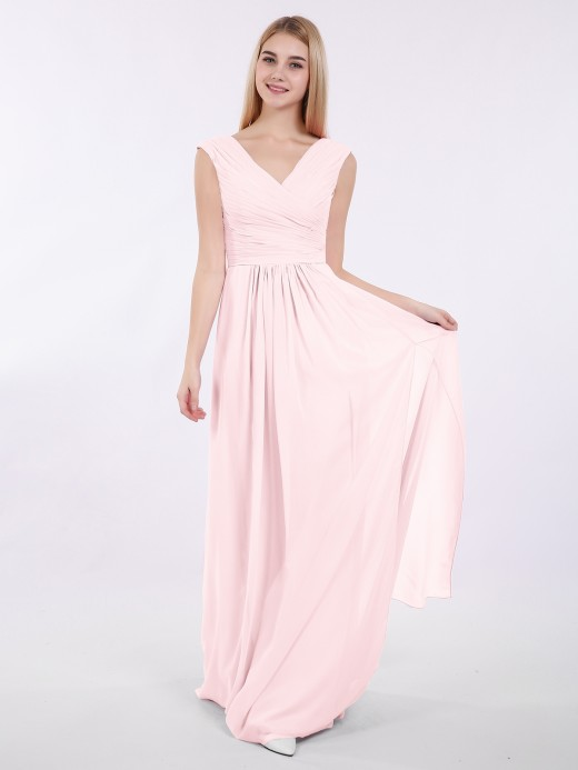 Eartha V Neck Chiffon Gown with Cap Sleeves