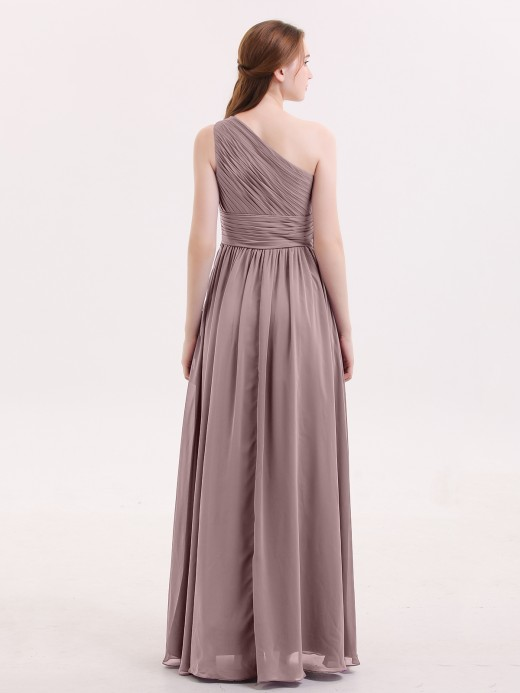Babaroni Hermosa Pleated Bodice One Shoulder Long Chiffon Dresses