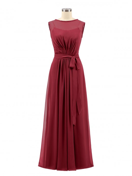 Jessie FAUX-Wrap Long Chiffon Gown with Belt
