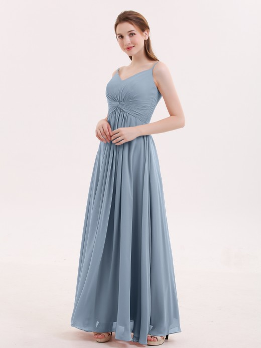 Melissa Long Chiffon Gowns with Illusion Neckline