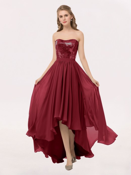 Marguerite Strapless High Low Dress with Sequins Bodice