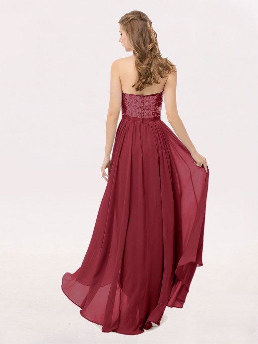 Babaroni Marguerite High Low Sequins And Chiffon Dresses