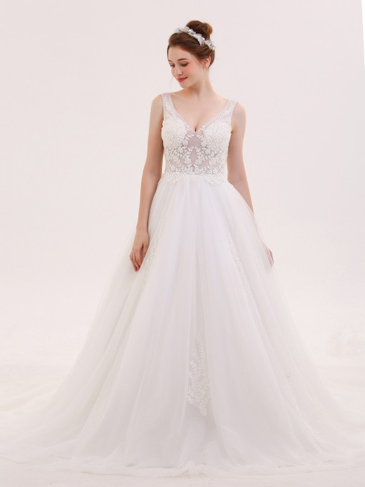 Babaroni Maureen See Through Bodice Tulle Wedding Dresses