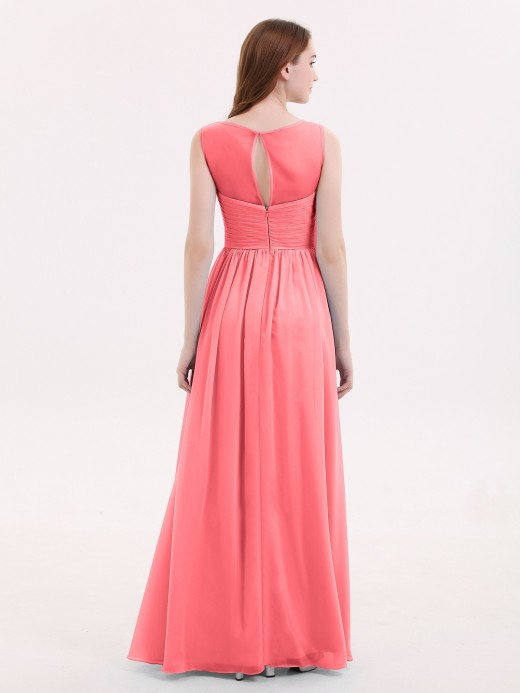Babaroni Melissa Illusion Neck Chiffon Full Length Dresses