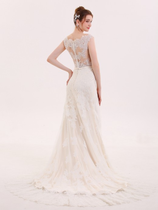 Babaroni Rebecca Tulle Floor Length Wedding Gowns with LACE Straps