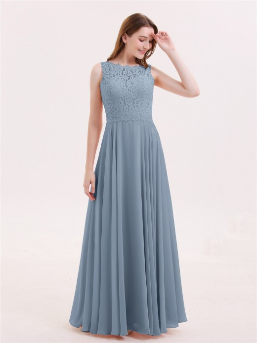 Tabitha Lace Bodice Chiffon Skirt Long Dress