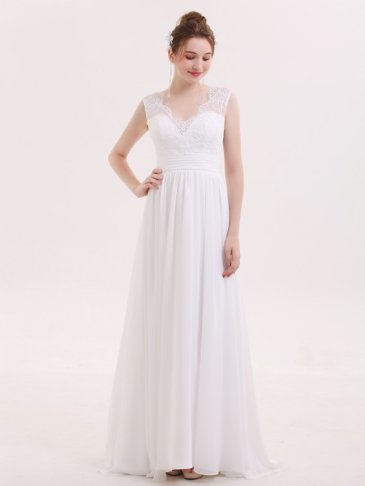 Babaroni Veromca Lace and Chiffon Beach Wedding Dresses