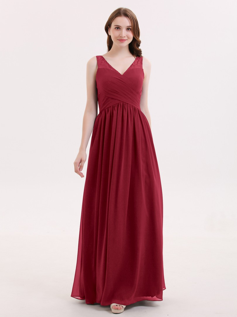 A-line Chiffon Burgundy Zipper Lace, Ruched, Pleated Floor-length V-neck Sleeveless Unique Bridesmaid Dresses
