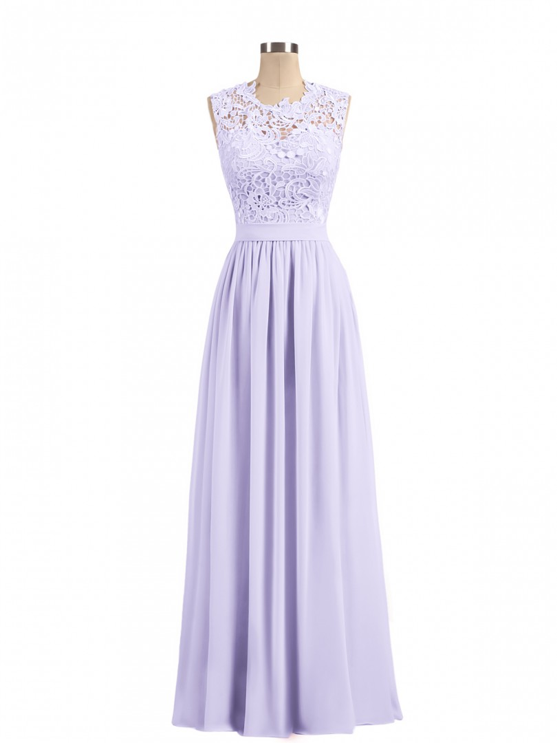 A-line Chiffon Lilac Zipper Lace, Ruched, Sash Floor-length Scoop Sleeveless Unique Bridesmaid Dresses