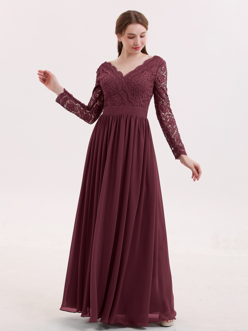 A-line Lace Cabernet Zipper Lace, Ruched Floor-length V-neck Long Sleeve Unique Bridesmaid Dresses