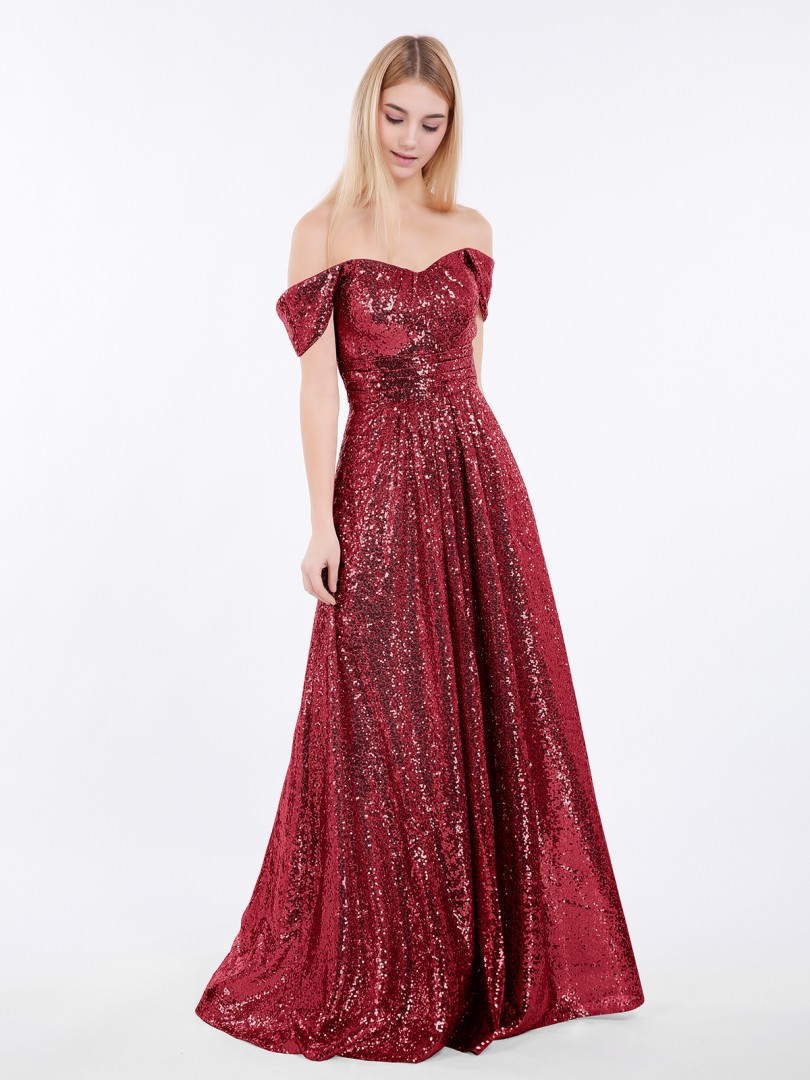 A-line Sequin Rose Gold Zipper Pleated Floor-length Off-the-shoulder Short New Arrivals