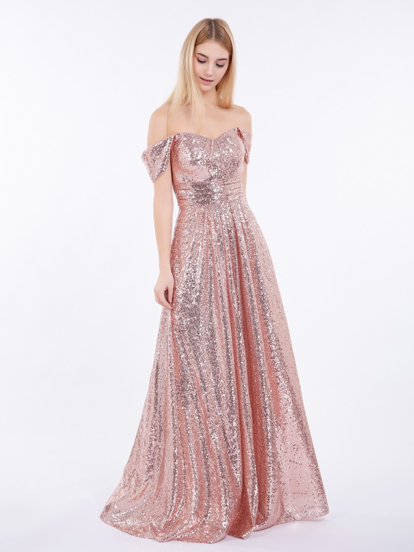 A-line Sequin Rose Gold Zipper Pleated Floor-length Off-the-shoulder Short Sequins Bridesmaid Dresses