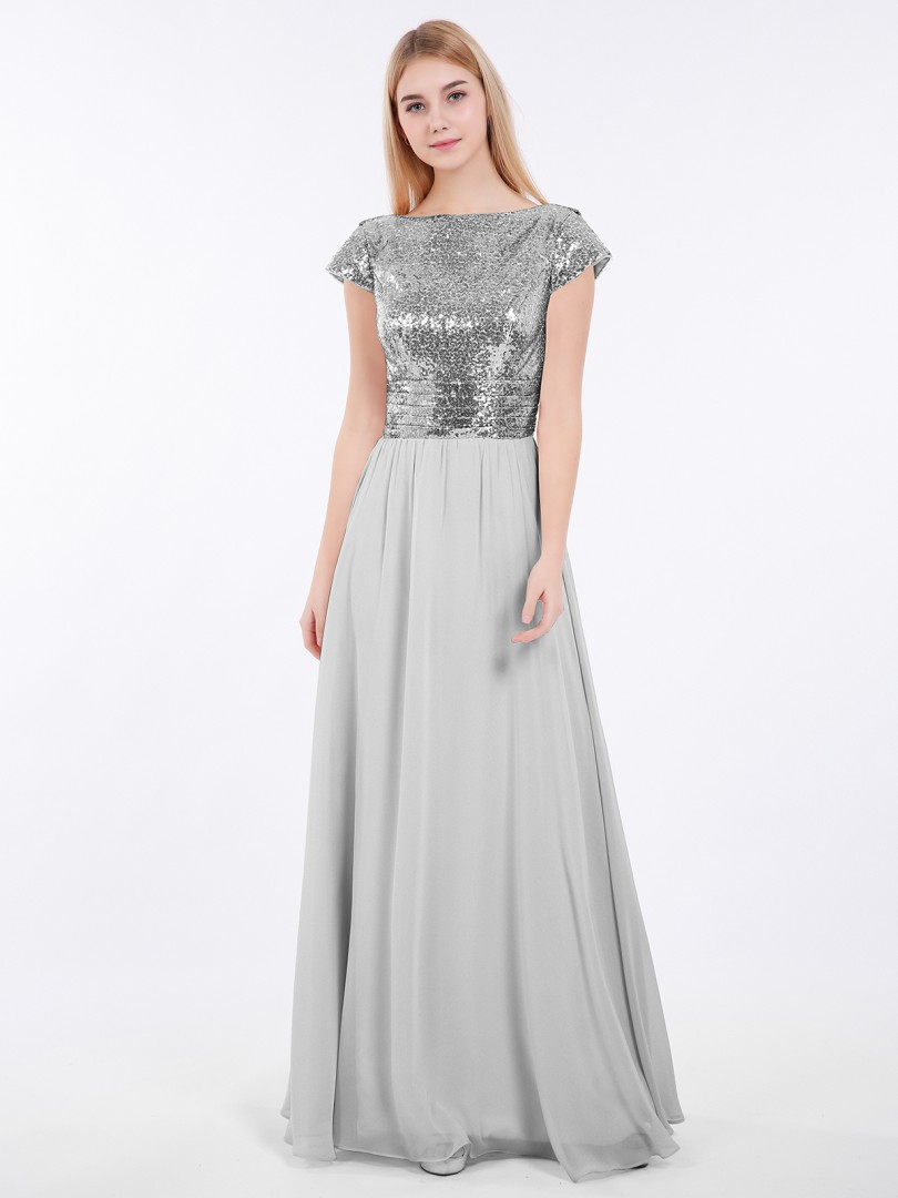 A-line Sequin Rose Gold Zipper Pleated Floor-length Bateau Short Vintage Bridesmaid Dresses