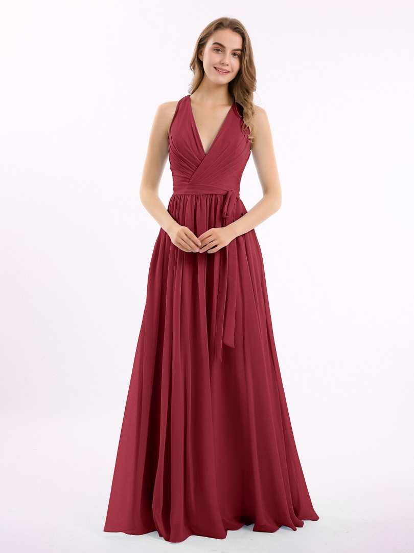 A-line Chiffon Stormy Zipper Ruched, Pleated Floor-length V-neck Sleeveless Bridesmaid Dresses Under 100