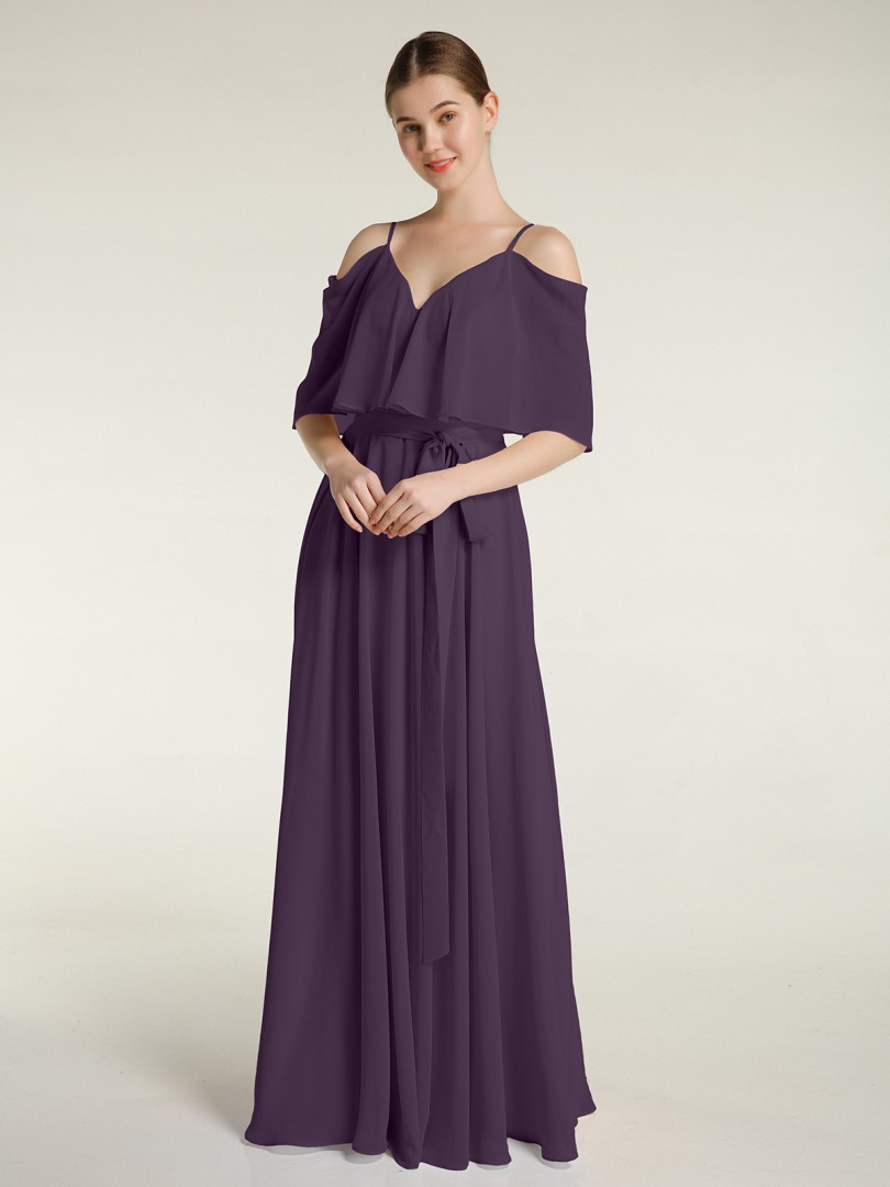 A-line Chiffon Plum Zipper Side Bow Floor-length V-neck Spaghetti Straps New Arrivals