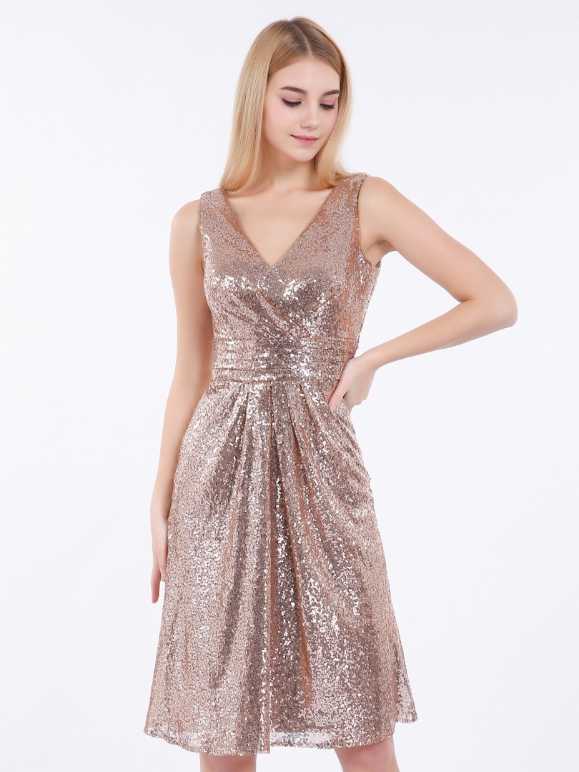 Sheath/Column Sequin Metallic Gold Zipper  Knee-length V-neck Sleeveless New Arrivals