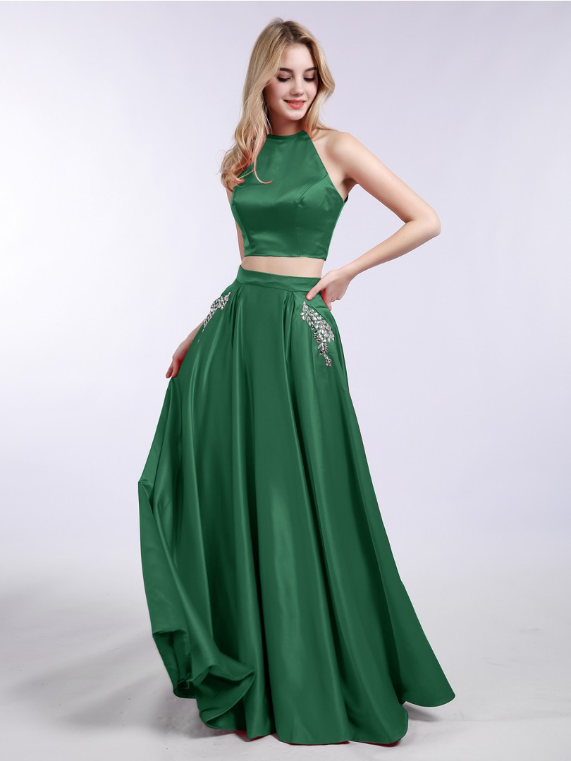 A-line Satin Dark Green Zipper Beaded, Pocket, Rhinestone Floor-length Halter Sleeveless Formal Dresses