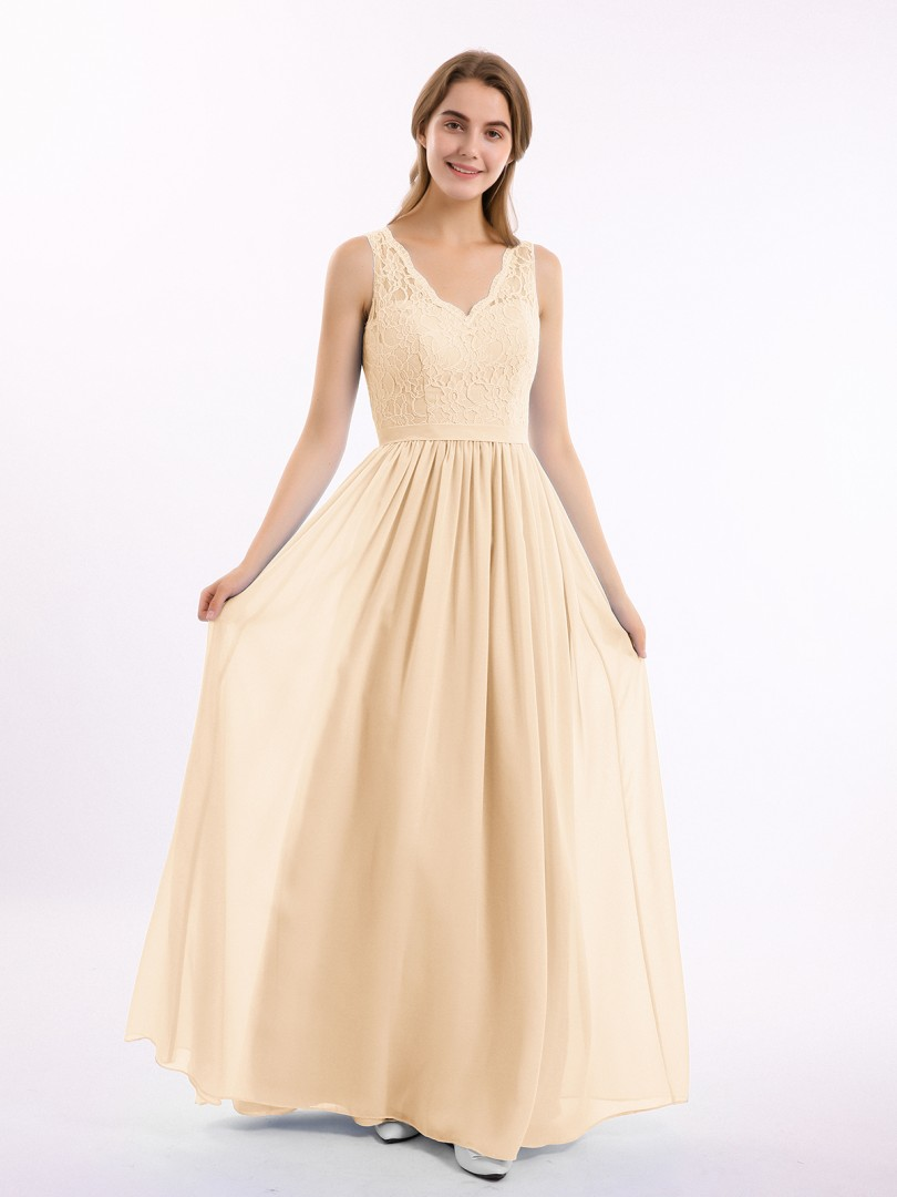 A-line Chiffon Peach Zipper Belt, Lace Floor-length V-neck Sleeveless Bridesmaid Dresses Under 100